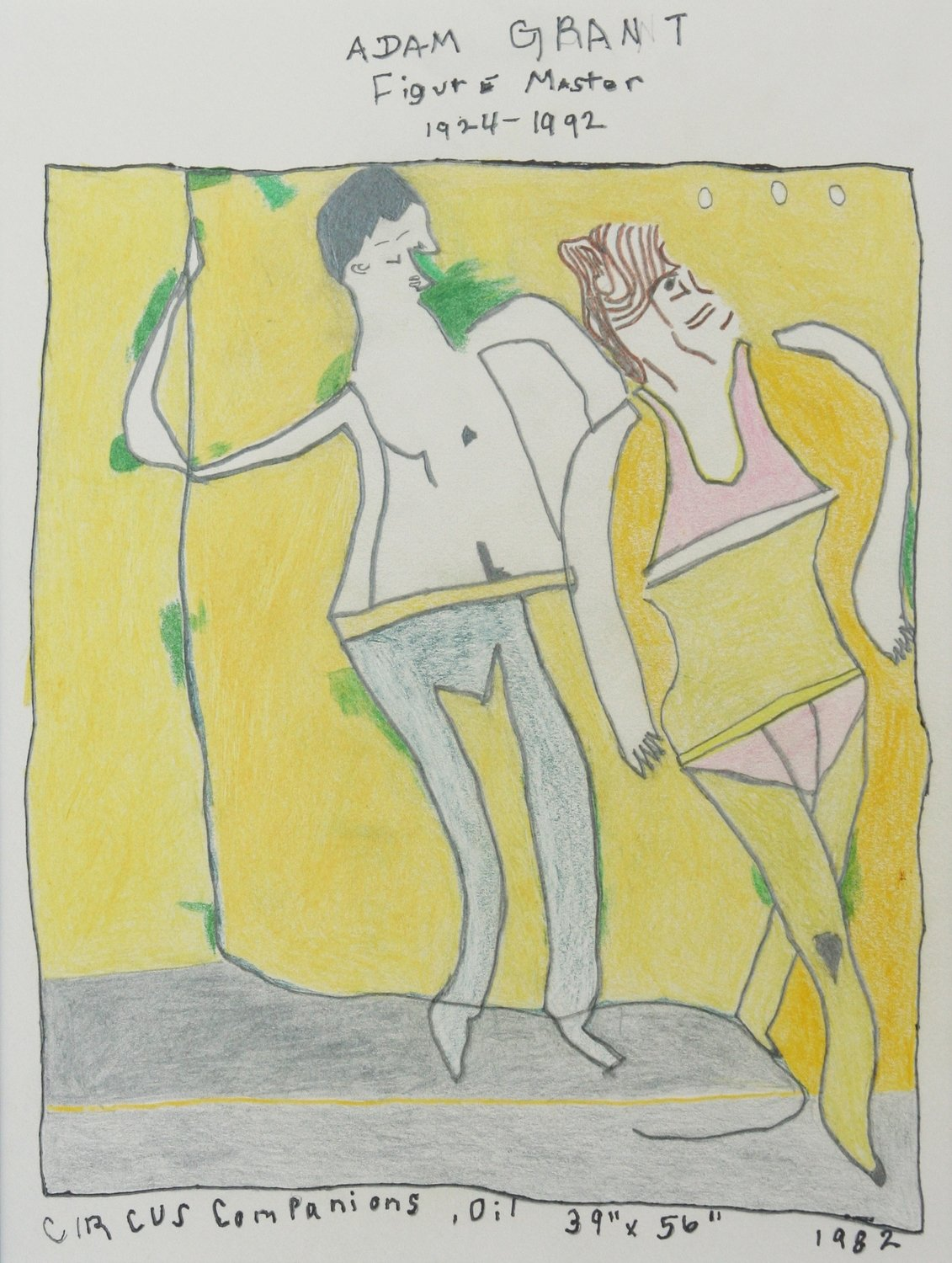 A Man and Woman Posing Together , mixed media on paper
