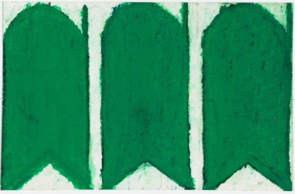 Evelyn Reyes,  Carrots (Green) , 2006, oil pastel on paper, image courtesy Creativity Explored