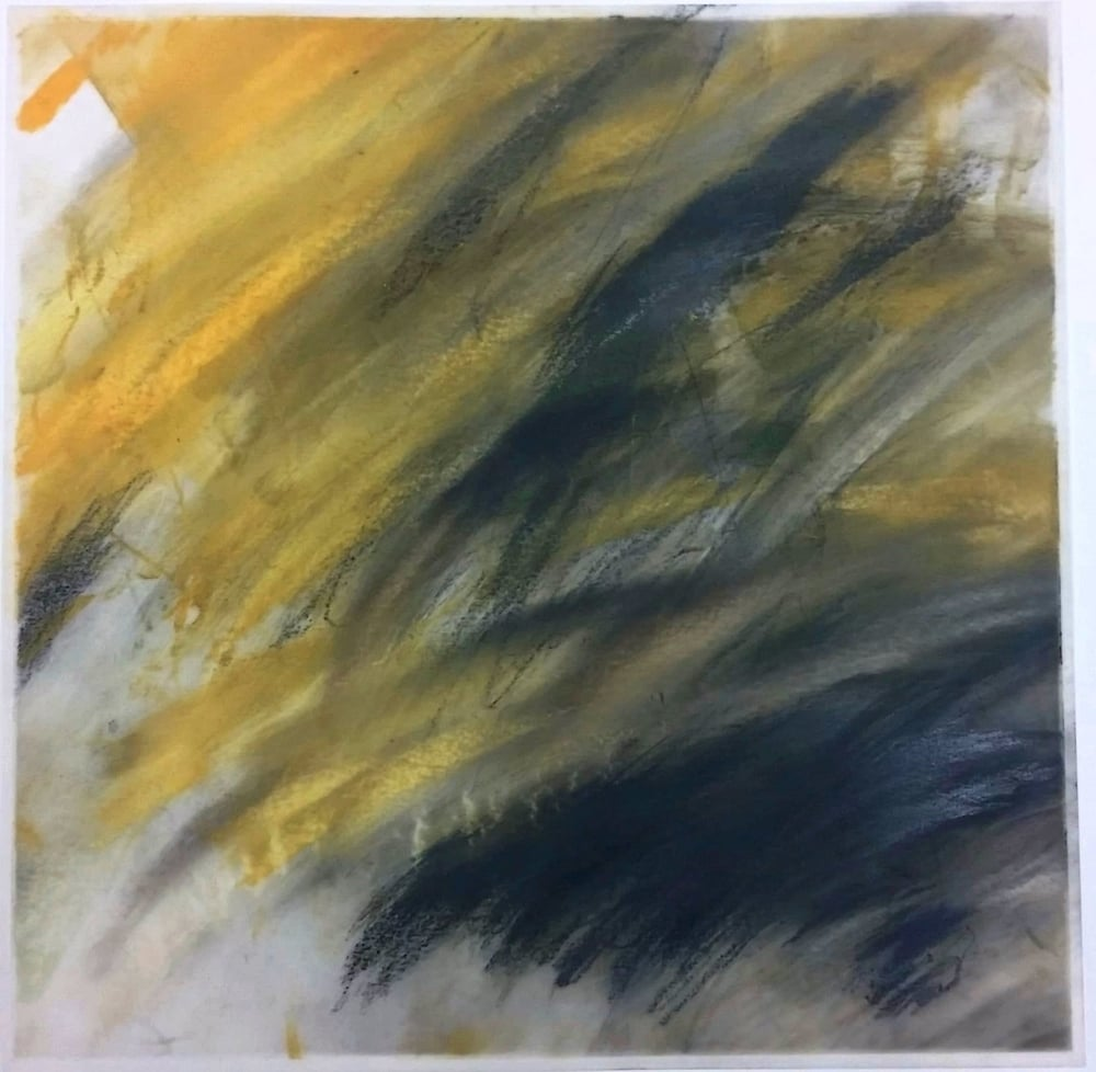 "Mike Godkin, Transportation: boat, plane, car , chalk pastel on vellum, 12"" x 12"", 2015"