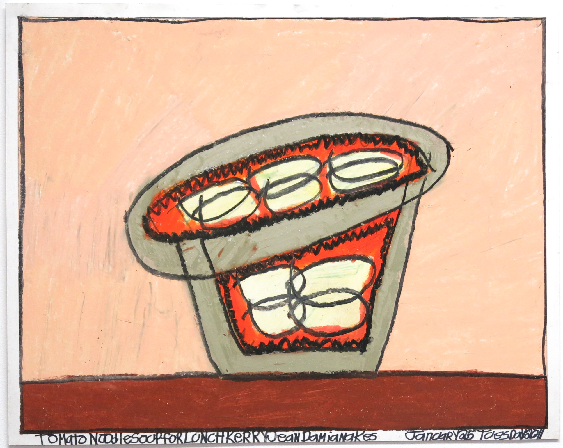 """Tomato Noodle Soup For Lunch , oil pastel on paper, 19"""" x 24"""", 2011"""