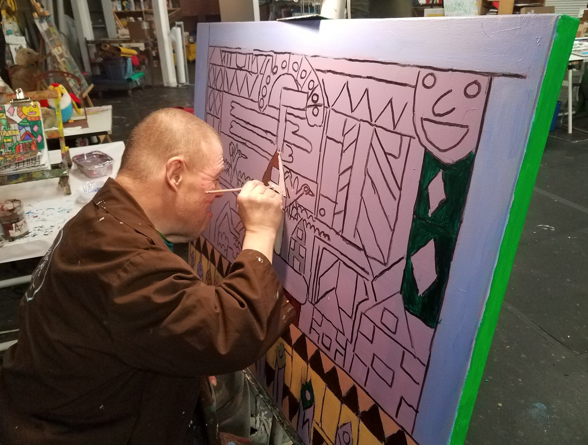 Krueger working on  God Bless America, Land That I Love  (2019) at Arts of Life