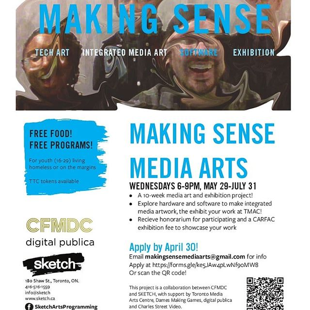 Announcing Making Sense Media Arts! This is a 10-week media arts special project, incollaboration between CFMDC and SKETCH, with support by Toronto Media Arts Centre, Dames Making Games, digital publica and Charles Street Video.  MAKING SENSE  A 10-week media art and exhibition project Exhibit your work at TMAC in August!  Explore hardware and software to make integratedmedia artwork with us. You will receive honorarium for participating and a CARFACexhibition fee to showcase your work.  Project runs May 29-July 31, on Wednesday evenings 6-9pm.  Apply by April 30!  Apply at https://forms.gle/ke5JAw4pLwNf9oMW8, link in bio.  DM us with any questions !  #tech #art #media #digital #youth #toronto exhibition #carfac #technology #portfolio #digitalart #learn #software #digitalliteracy #hardware #vr