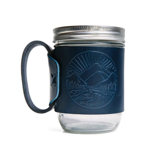 Leather wrapped mason jar = ultimate dad cup for enjoying that morning coffee.  8/15  Landscape Aviator Mug in Blue  - $30