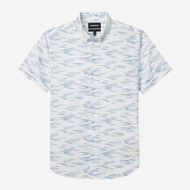 A crisp tuck with dress slacks or untucked with shorts, this shirt's a win for pop's summer style.  2/15  Riviera Short Sleeve Shirt in Blue & White Ikat  - $88