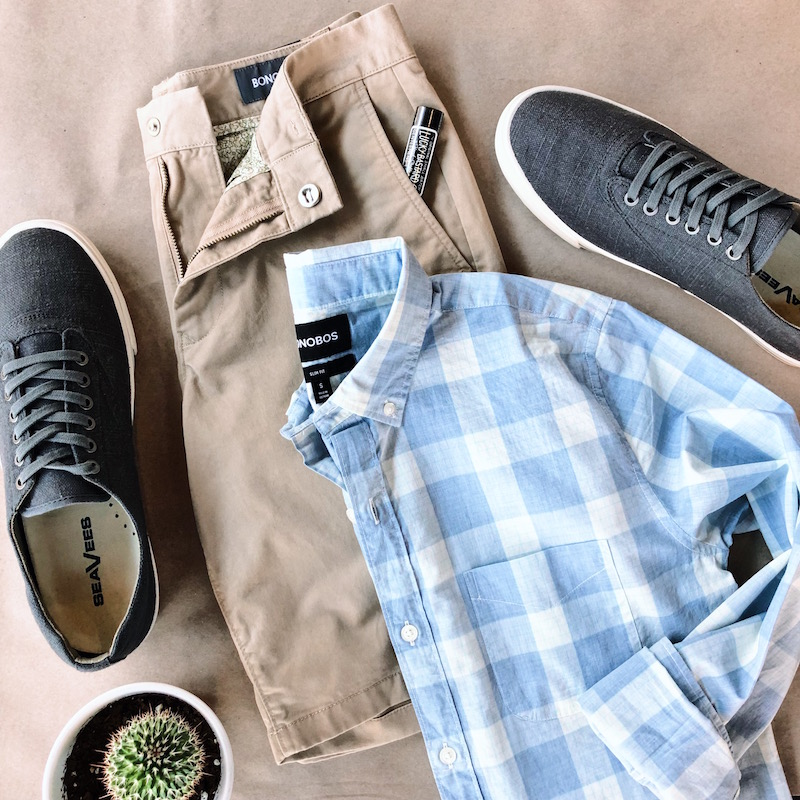 Throw on some khaki chino shorts and linen sneakers and head out the door. Don't forget the SPF.   Bonobos Stretch Washed Chino Short in Khaki  - $68   SeaVees Hermosa Sneaker in Slate Linen  - $62.40 Sale   Lucky Bastard Gentlemen's Lip Balm  - $6