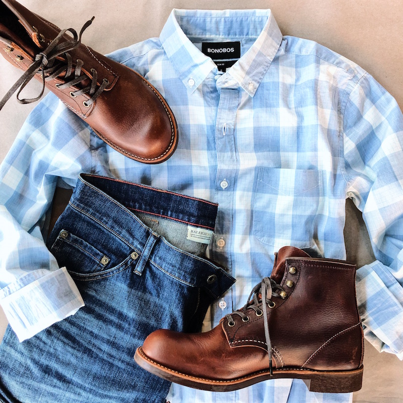 For cooler nights, go for a great fitting pair of jeans. Keep the shirt untucked and roll the sleeves. Add a pair of quality boots. Enjoy.   Raleigh Denim Alexander 319 Wash  - $225   Red Wing Heritage Blacksmith in Briar Oil Slick Leather  - $299.99