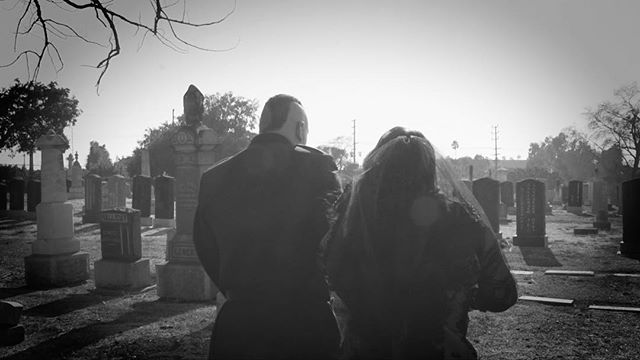 "Such an amazing experience being able to photograph and film Robby+Sylvia at this gorgeous cemetery. . . ""...it will take a bit of effort...a bit of sweat and perhaps...a bit of blood"" -Nosferatu . . . #gothwedding #goth #blackandwhite #punk #cemetery #cemeterywedding #losangeles #weddingphotographer #weddingvideo"