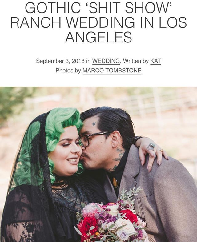 Gothic 'Shit Show' Ranch Wedding article www.rocknrollbride.com Photography by @marcotombstonestudio . . . #weddingphotography #gothic #punk #wedding #bride #weddingphotographer