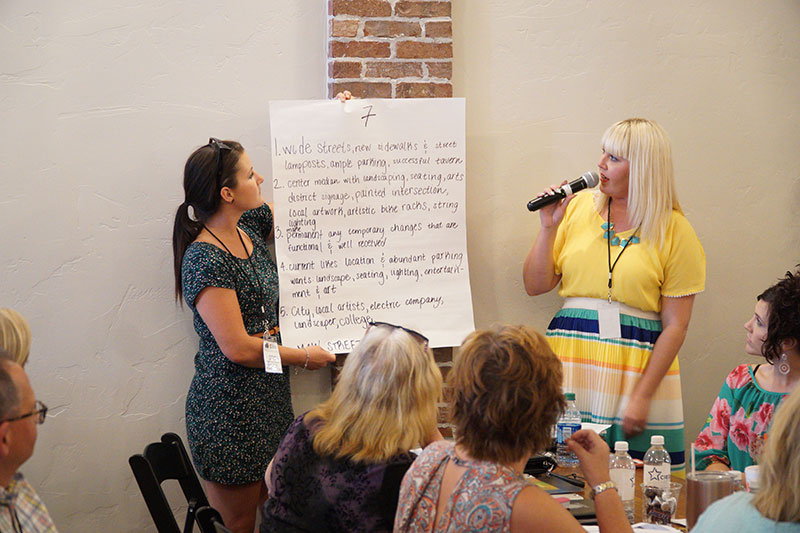 two-ladies-share-table-group-feedback-design-charrette