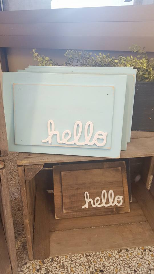 "Hello! These handmade signs are the perfect gift! They're so cute & great for  entryway decor. Kim has several different color options. I have the ""Hello"" sign in black, but I also love the natural wood and aqua options."