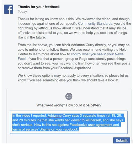 Facebook's reply: Not against our community standards -