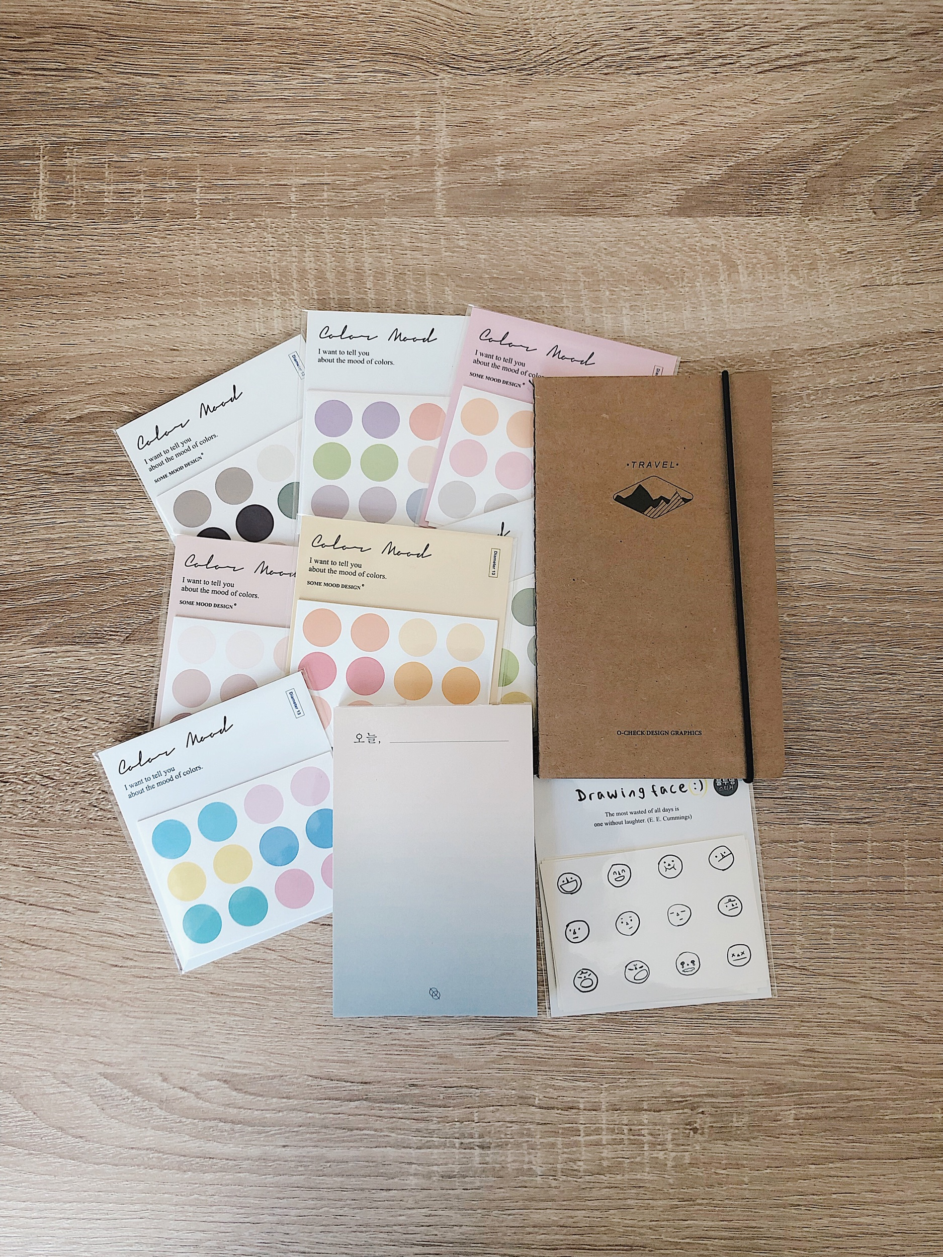 Dot stickers, memo pad and facial expression stickers by some mood design  Travel journal by O-CHECK Design Graphics