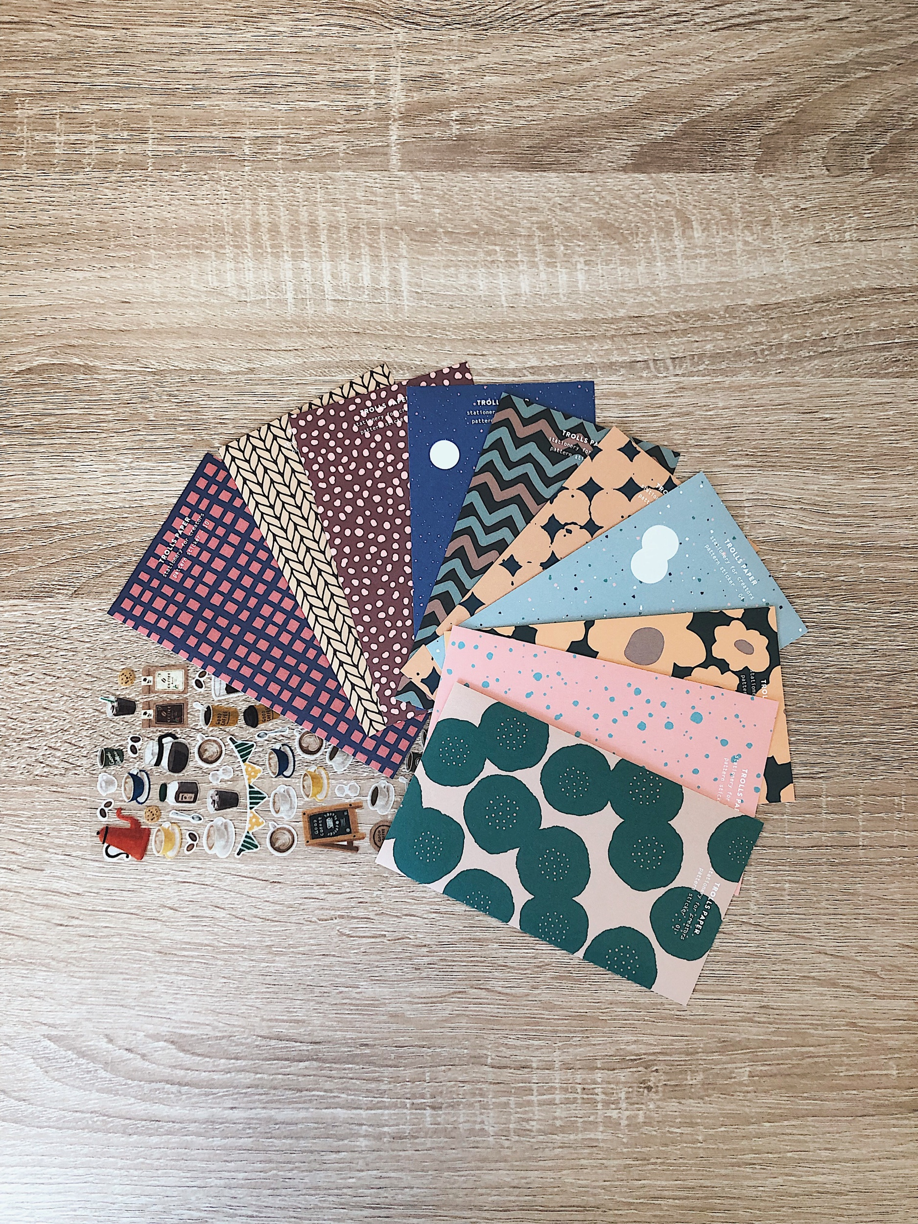 Left to right: coffee stickers by Midori, pattern stickers by Trolls Paper