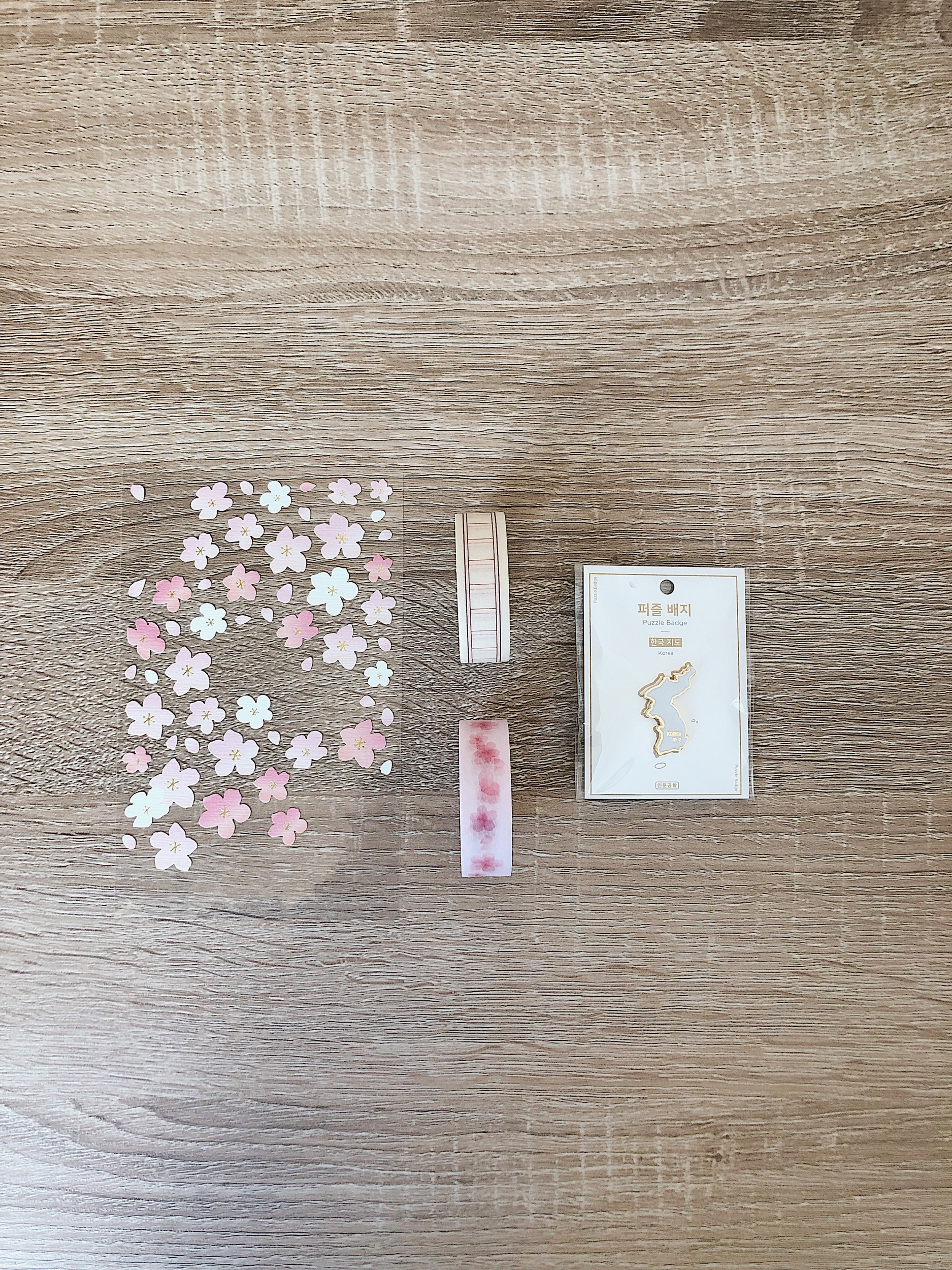 Left to right: cherry blossom stickers/masking tape and writing pad masking tape from Artbox, South Korea pin by Inmoongonghak
