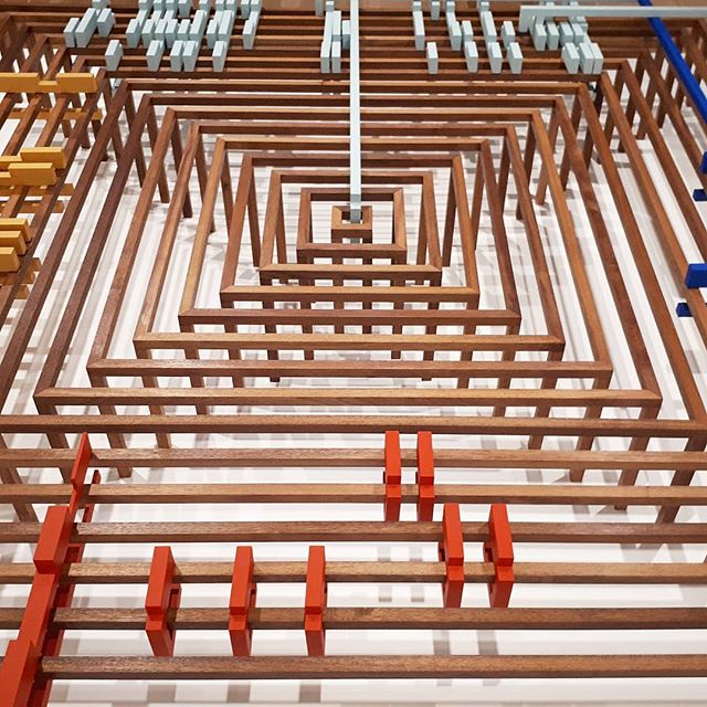 4 meter wide Artwork we built for Riet Wijnen at last year's Sydney Biennale @biennalesydney at the Art Gallery NSW. Fabrication by Feather Edge.  @artgalleryofnsw #concentric #simetry #merbau #hardwood #artfabrication #creativeconstruction