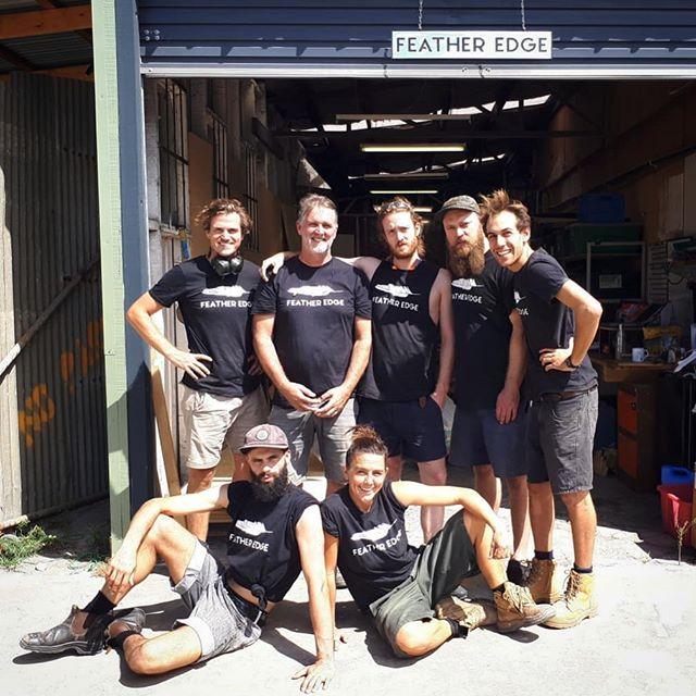 Just a couple of Feather Edge Legends Rob, Marcus, Chris, Doug, Mark, Bruno and Nina!  Having such an awesome crew to work with is really all that matters to us! and when we get to make so many awesome projects come to life it's even better!  photo by @dougheslopart because we couldn't figure out the camera timer! #featheredgeteam #featheredgeworkshop  #makers
