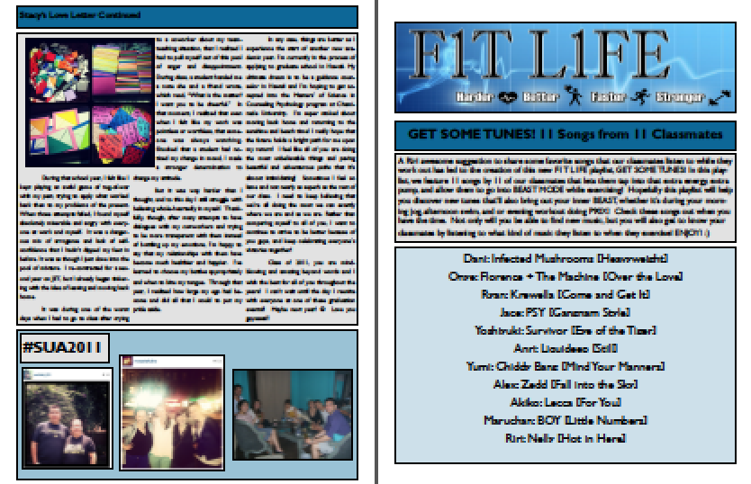 Sample of previous editions of the newsletter