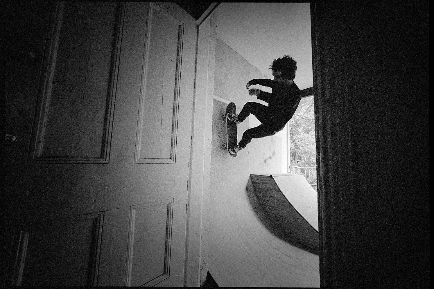 Joel, Wallride in doorway, Death Trap Ramp, Enmore, NSW, Silver Gelatin Print, 50.8cm x 60.1cm, 1/5