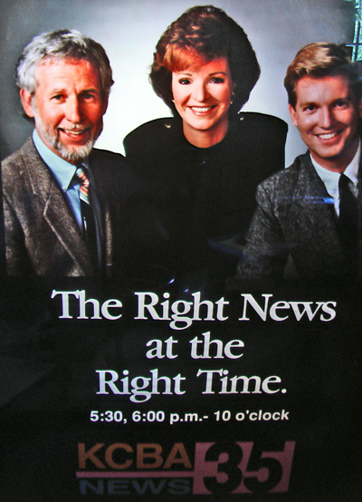 The promotional posters that KCBA put up in airports and shopping malls all over Northern California. That's me on the left, Kirstie Wilde news anchor in the center, and Craig Kilbourne on the right. Kilbourne went on to Big Time TV, Kirstie went home to PG to raise a family, and I went back (voluntarily) to the Cabrillo classro