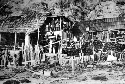 This is the only surviving photograph of the Chinese fishing camp located from the early 1850s to the 1880s at the base of the bluff on present-day New Brighton State Beach. Photo credit: UCSC Special Collections