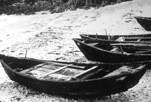 Sampans pulled up on the beach at the Point Alones village,Monterey. Photo Credit: Pat Hathaway Collection, Monterey.