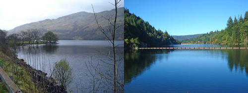 The two Loch Lomonds have a similar appearance, but one, the original in Scotland (left) is a gazillion years old, while the other in Santa Cruz County is just shy of fifty.