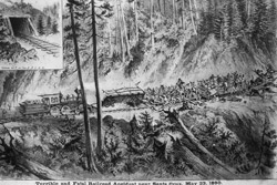 Artist's rendering of the May 23, 1880 accident that killed 15 passengers on the newly-completed South Pacific Coast Railroad. Some say it was part of some cosmic score-evening carried out by the hungry ghosts of the Chinese killed in the tunnels in 1879