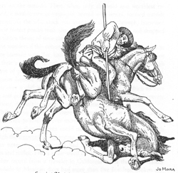 This Joe Mora drawing captures the violence that resulted against the wild horses during a drought in the region in the early 1840s.