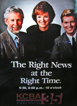Sandy Lydon (left), Kirstie Wilde and Craig Kilborn, KCBA Fox 35 News Anchors, August, 1990. Sandy was the Weather Anchor during a drought.