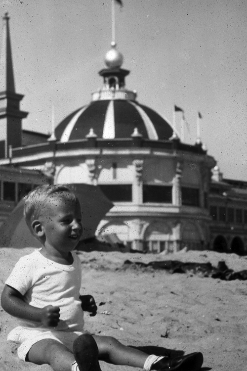 For local creds, here is Sandy Lydon on the Santa Cruz Main Beach in 1941. Check out the tan! That's a local's tan!