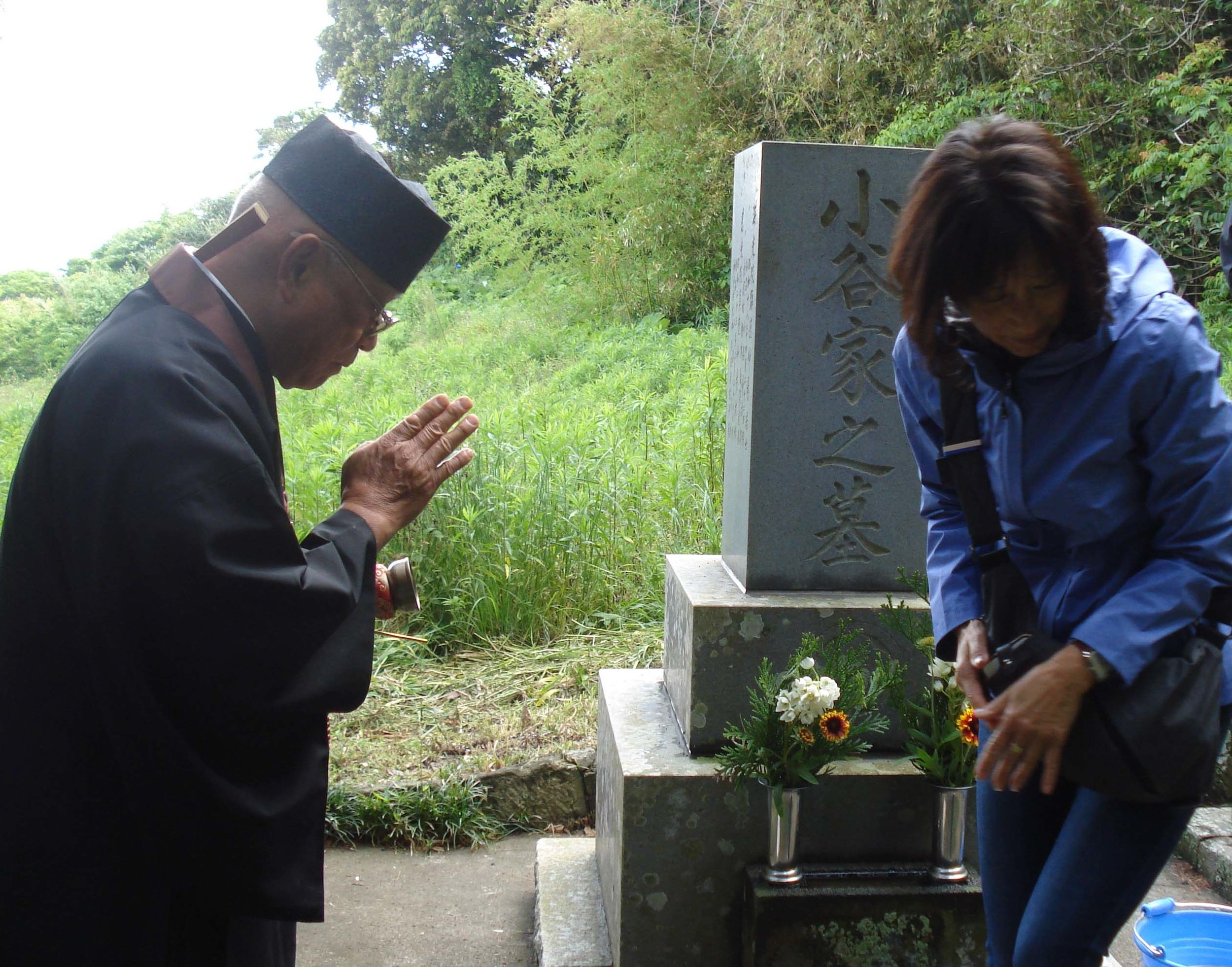 May ?, 2018, Chicura Buddhist Cemetery Reverend Takanashi leading brief memorial at the grave of Nakajiro Kodani, a major player in the transpacific story that united Minamiboso and the Monterey Bay Region.