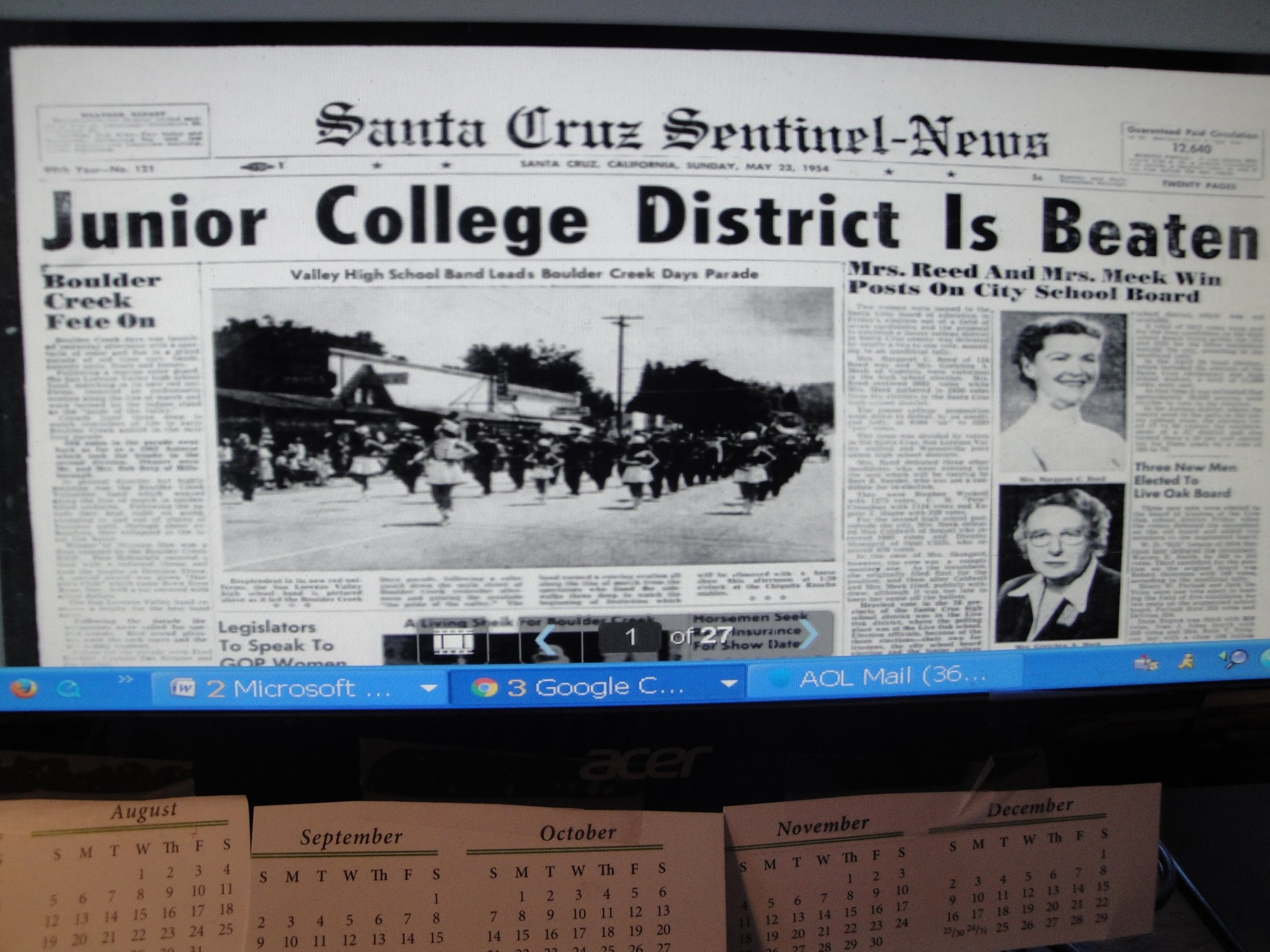 Sentinel headline jc is beaten May,   1954.JPG