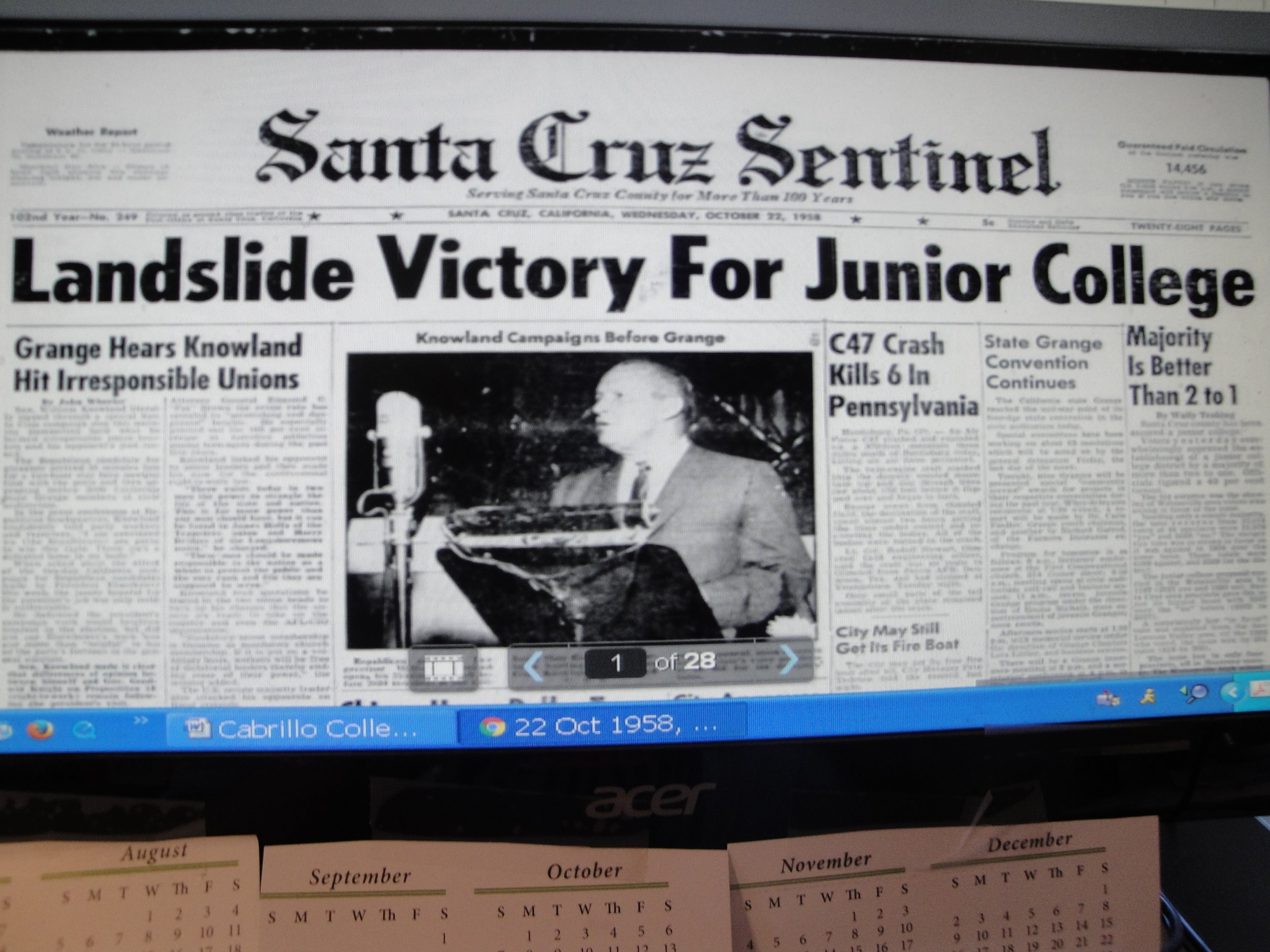 """The Santa Cruz Sentinel declared the 1958 election victory for the junior college a """"landslide."""""""