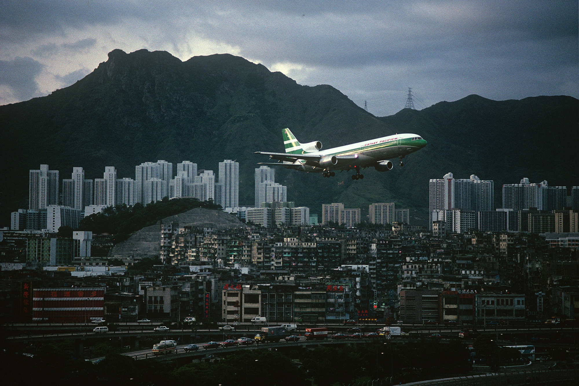 Cathay Pacific Tri-Star and Kowloon Walled City, 1989