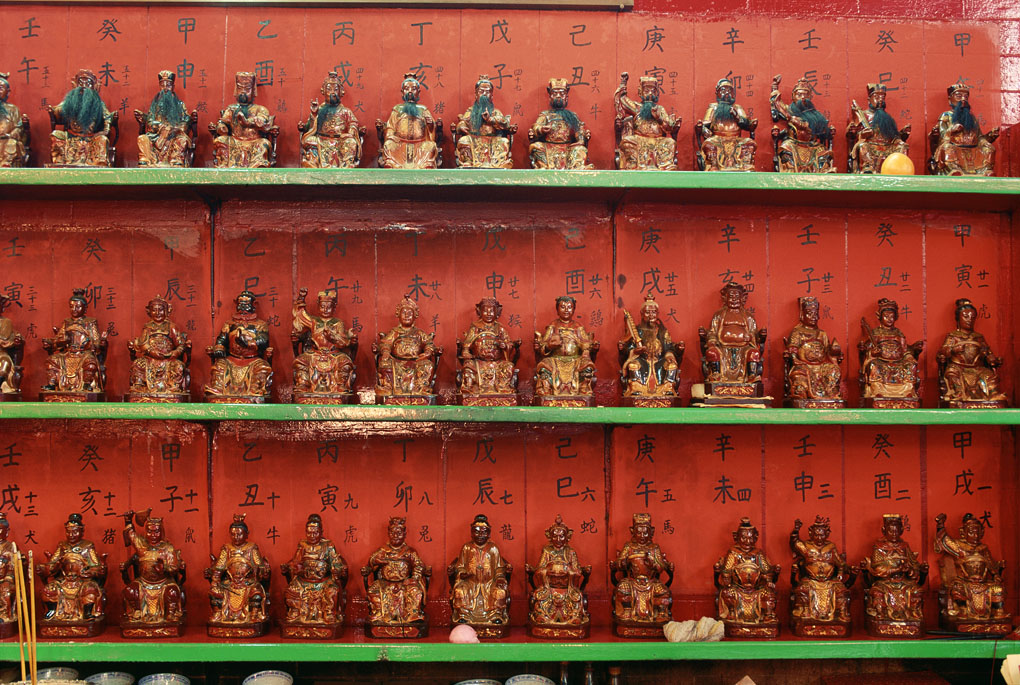 God statues in Bark Sing Temple, Hollywood Road