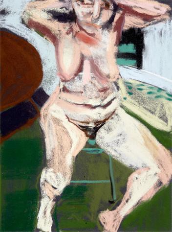 Chantal Joffe,  Self-portrait Naked in Garden,  2016