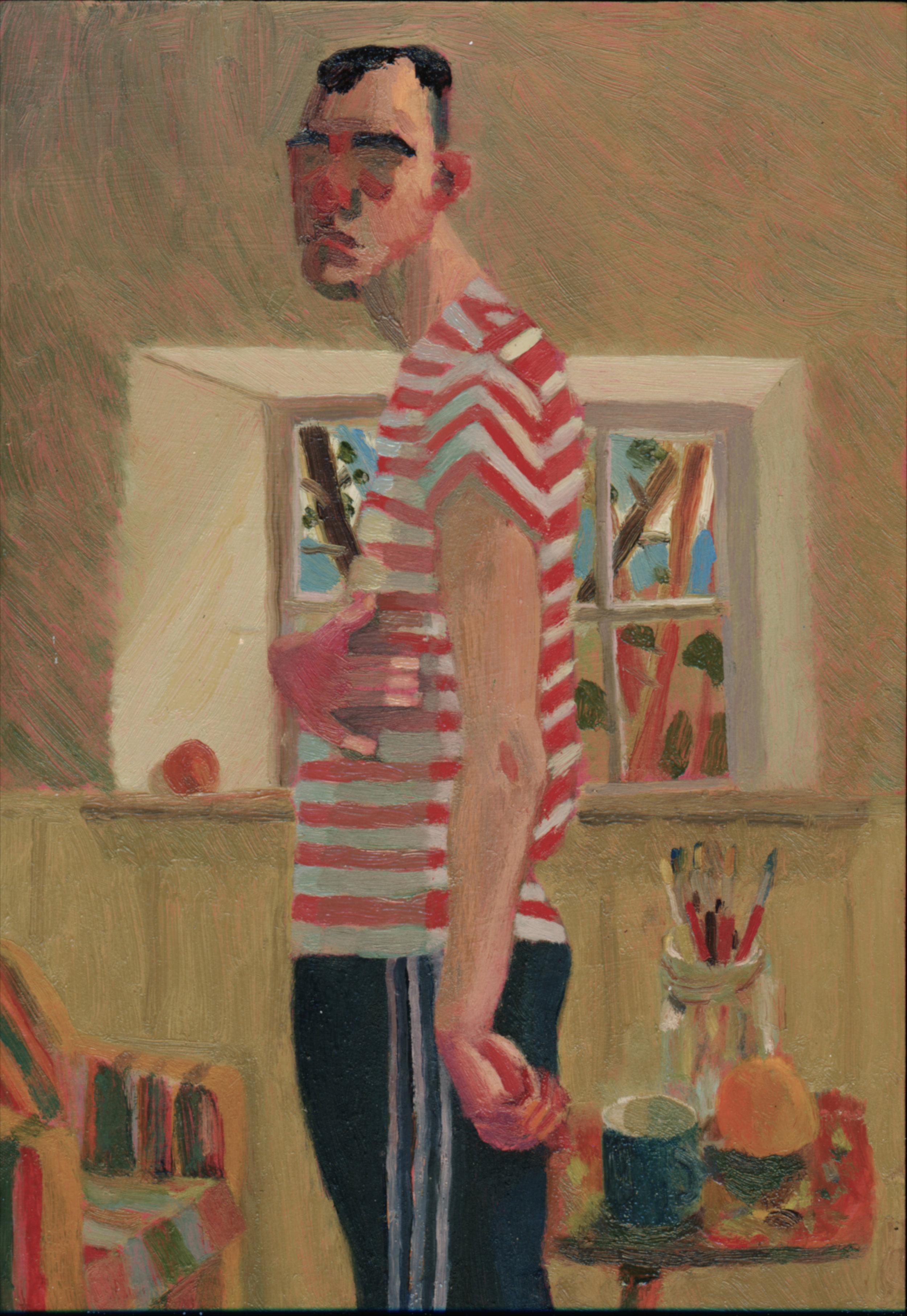Oliver Mulvihill,  Self-Portrait in Stripes,  2017