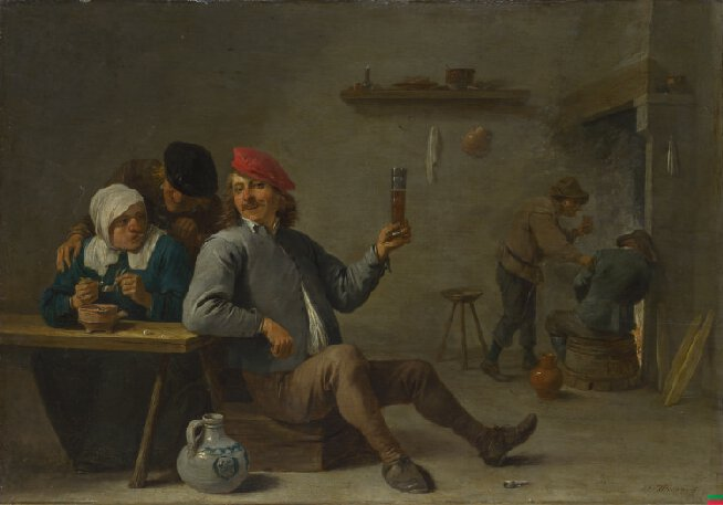 David Teniers the Younger,  A Man holding a Glass and an Old Woman lighting a Pipe,  c.1645