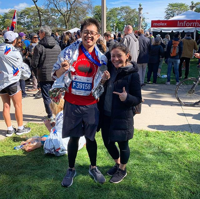 Thanks to @lynnjaaa (fiancé) for always being there and supporting me for every single one of my runs. #chicagomarathon 2 down, 4 to go. #abbotworldmarathonmajors