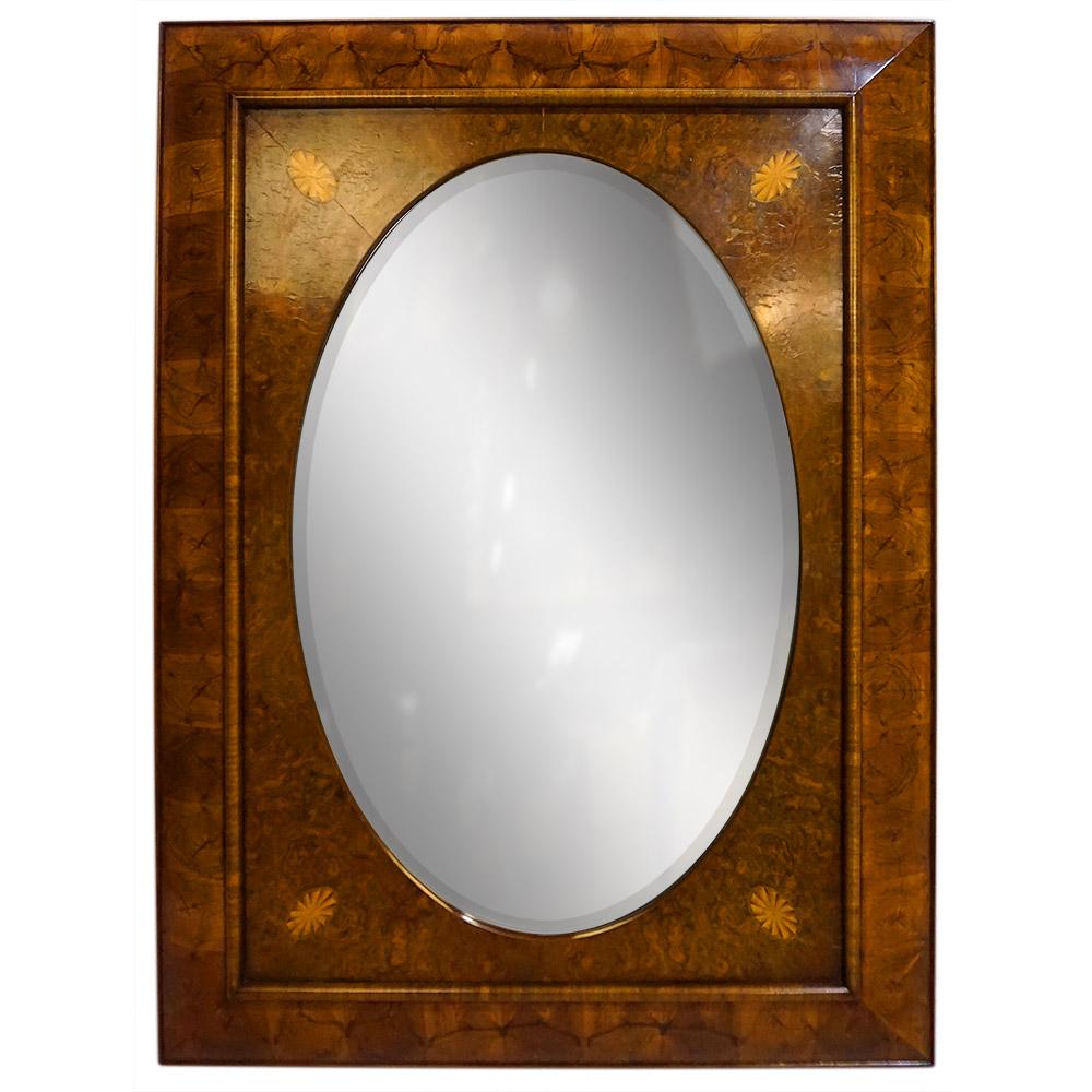 CURVED WALNUT FRAME WALNUT BURL OVAL INSERT, ANTIQUE MIRROR   Dimension: W 94cm x H 125cm