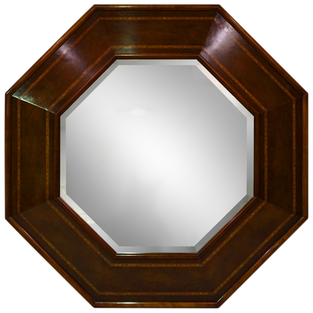 WALNUT AND MAHOGANY OCTAVIA MIRROR   Dimension: W 103cm x H 103cm