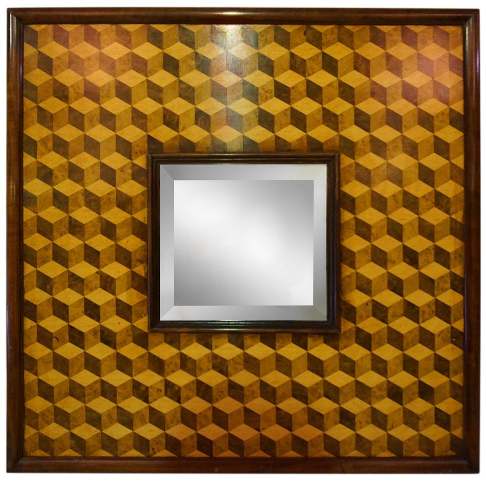 3D CUBE VENEERED WITH WALNUT TRIM MIRROR   Dimension: W 65cm x H 66cm