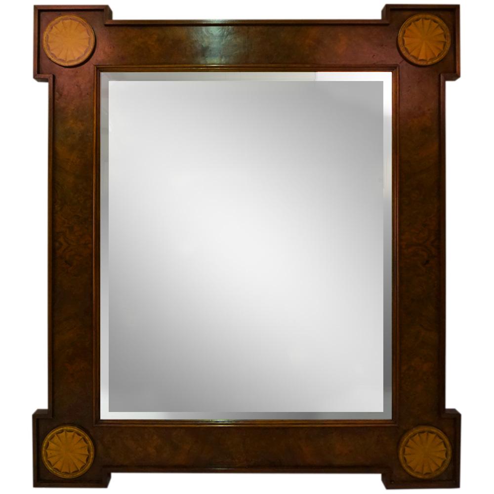 COLONIAL WALNUT FAN MIRROR   Dimension: W 108cm x H 123cm