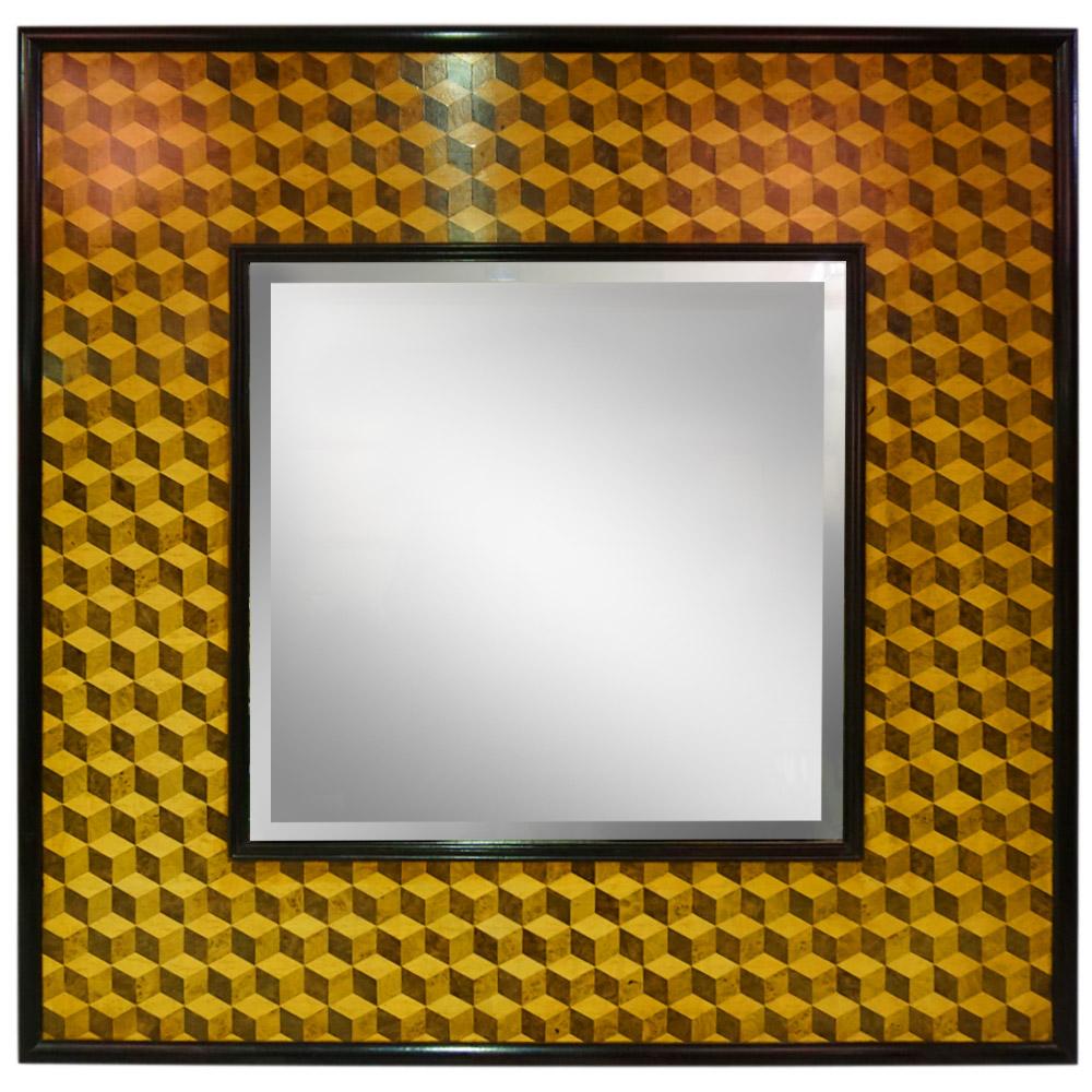 3D CUBE VENEERED WITH WALNUT TRIM MIRROR   Dimension: W 96cm x H 96cm