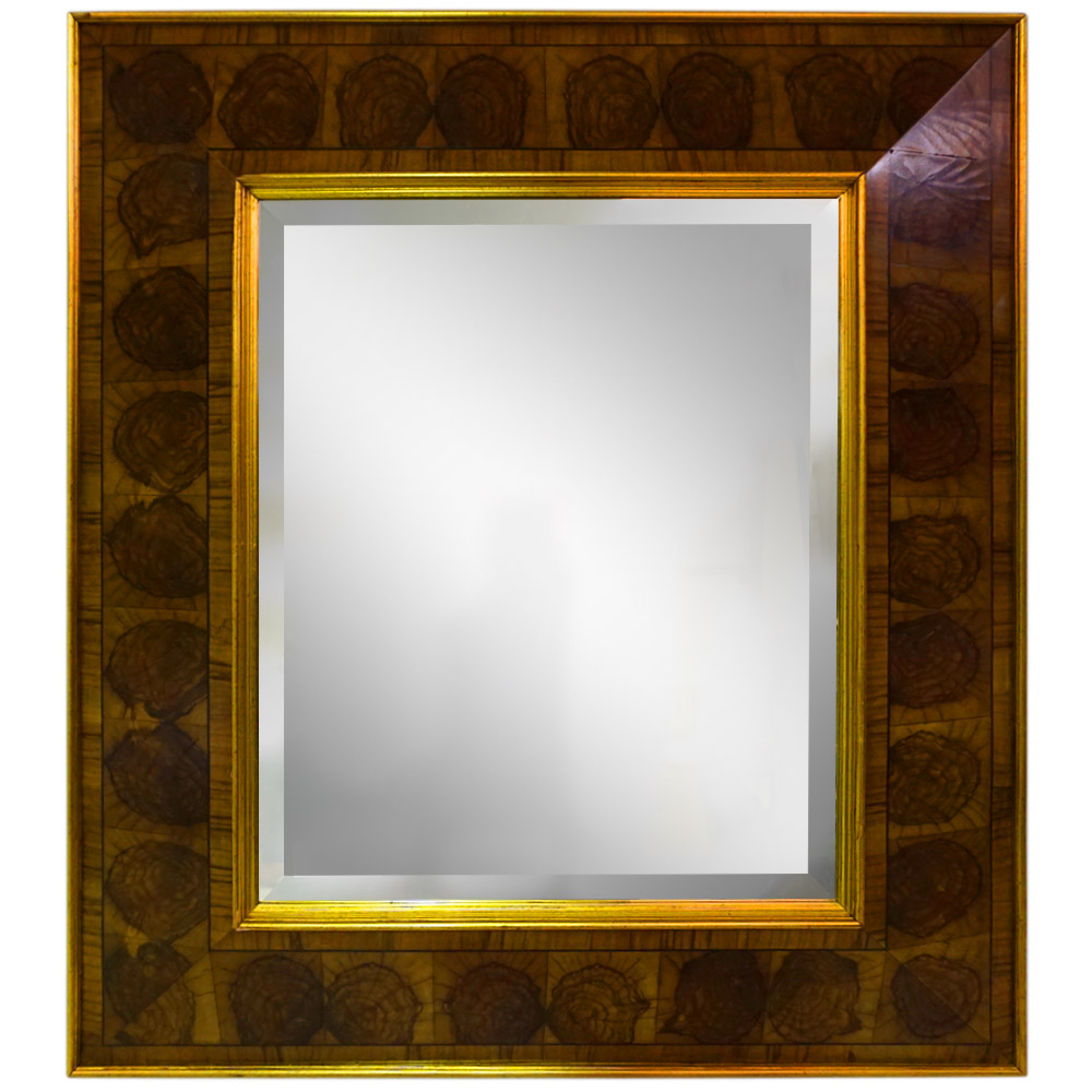 OLIVE OYSTER AND ANTIQUE GOLD MOULDING MIRROR   Dimension: W 77cm x H 87cm