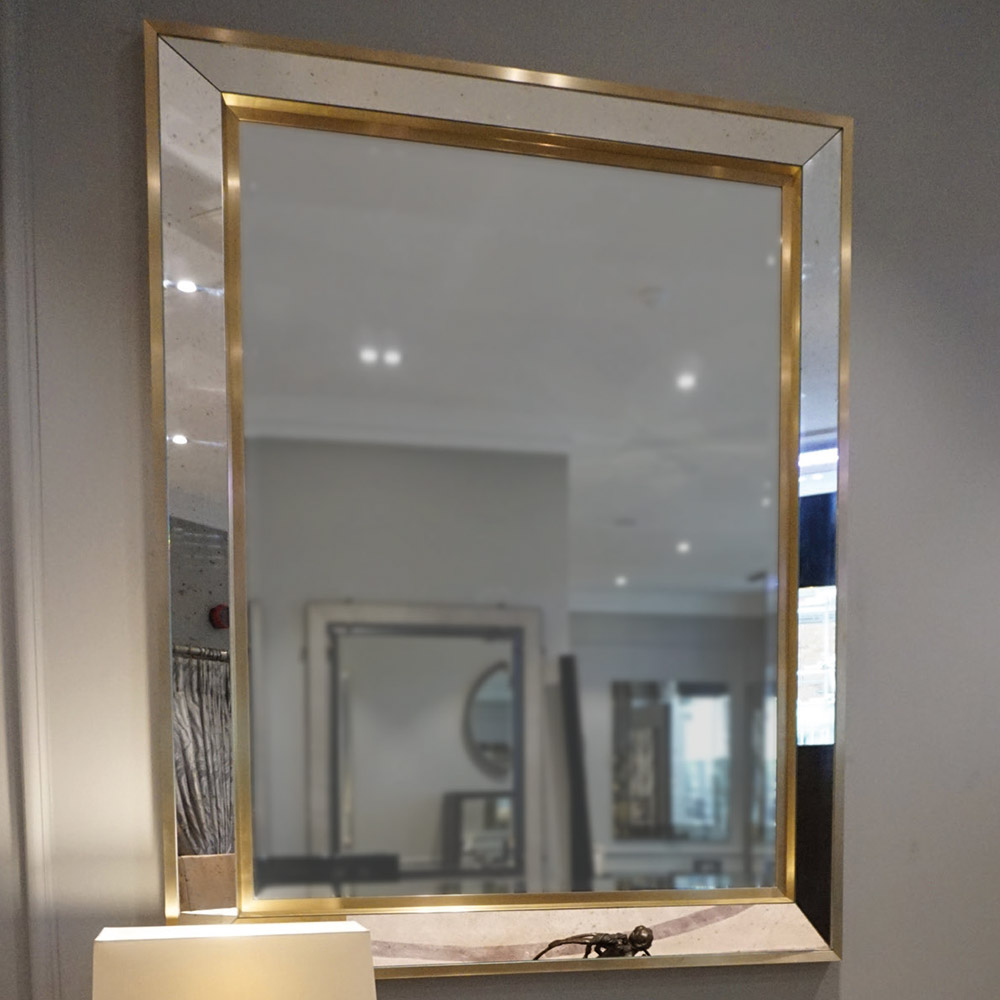 ASPEN ANTIQUE MIRROR BIANCO NERO GLASS BRUSHED BRASS TRIM   Dimension: W 120cm x H 150cm