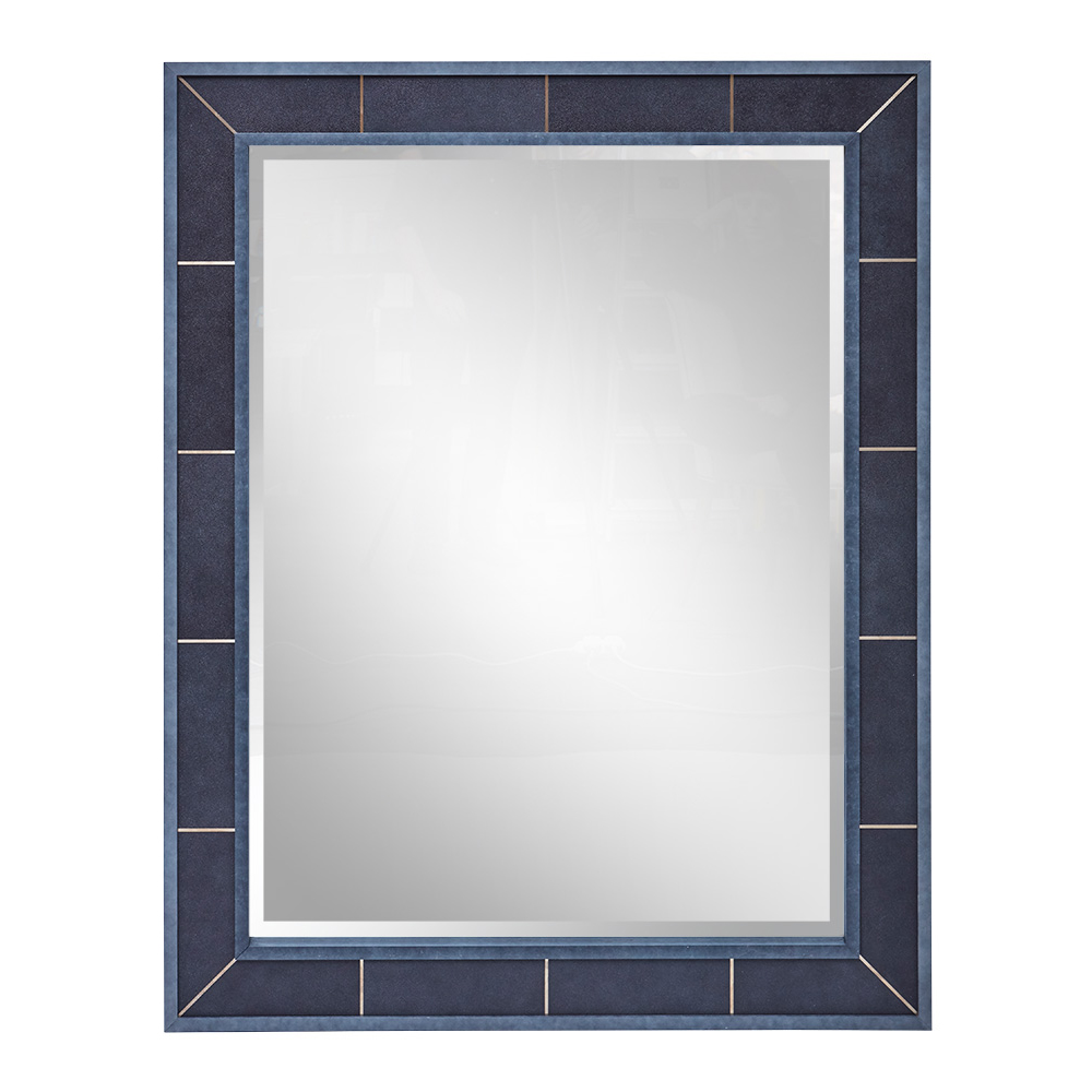 CARLISLE MIRROR CHARCOAL SHAGREEN CHARCOAL GREY MOULDING BRUSHED BRASS DETAIL   Dimension: W 115cm x H 145cm