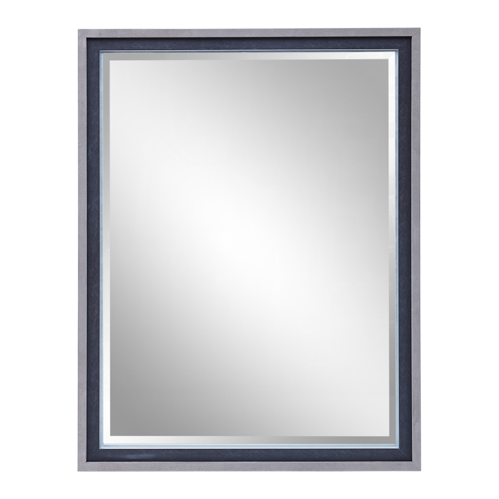 CUMBERLAND MIRROR TAUPE SUEDED SHAGREEN AND ANTIQUE CHARCOAL MOULDING   Dimension: W 104cm x H 134cm