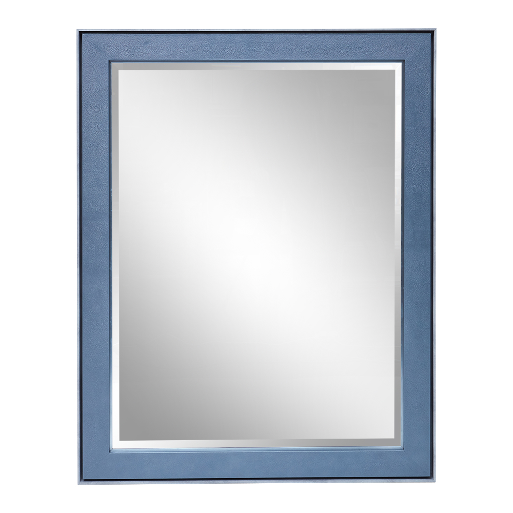 CARLTON MIRROR LIGHT GREY TRIM PETROL BLUE SHAGREEN AND ANTIQUE SILVER DETAIL   Dimension: W 110cm x H 140cm