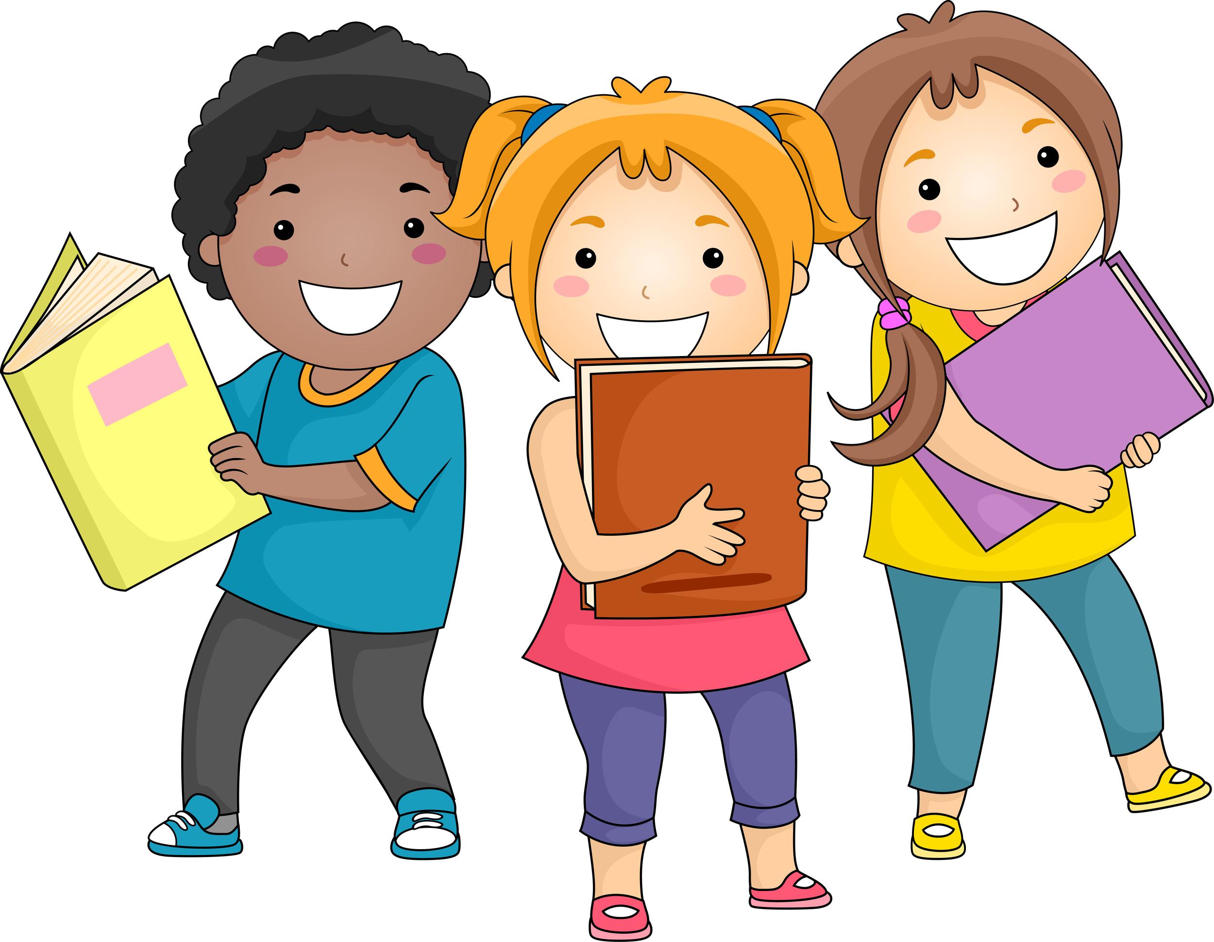 happy kids reading